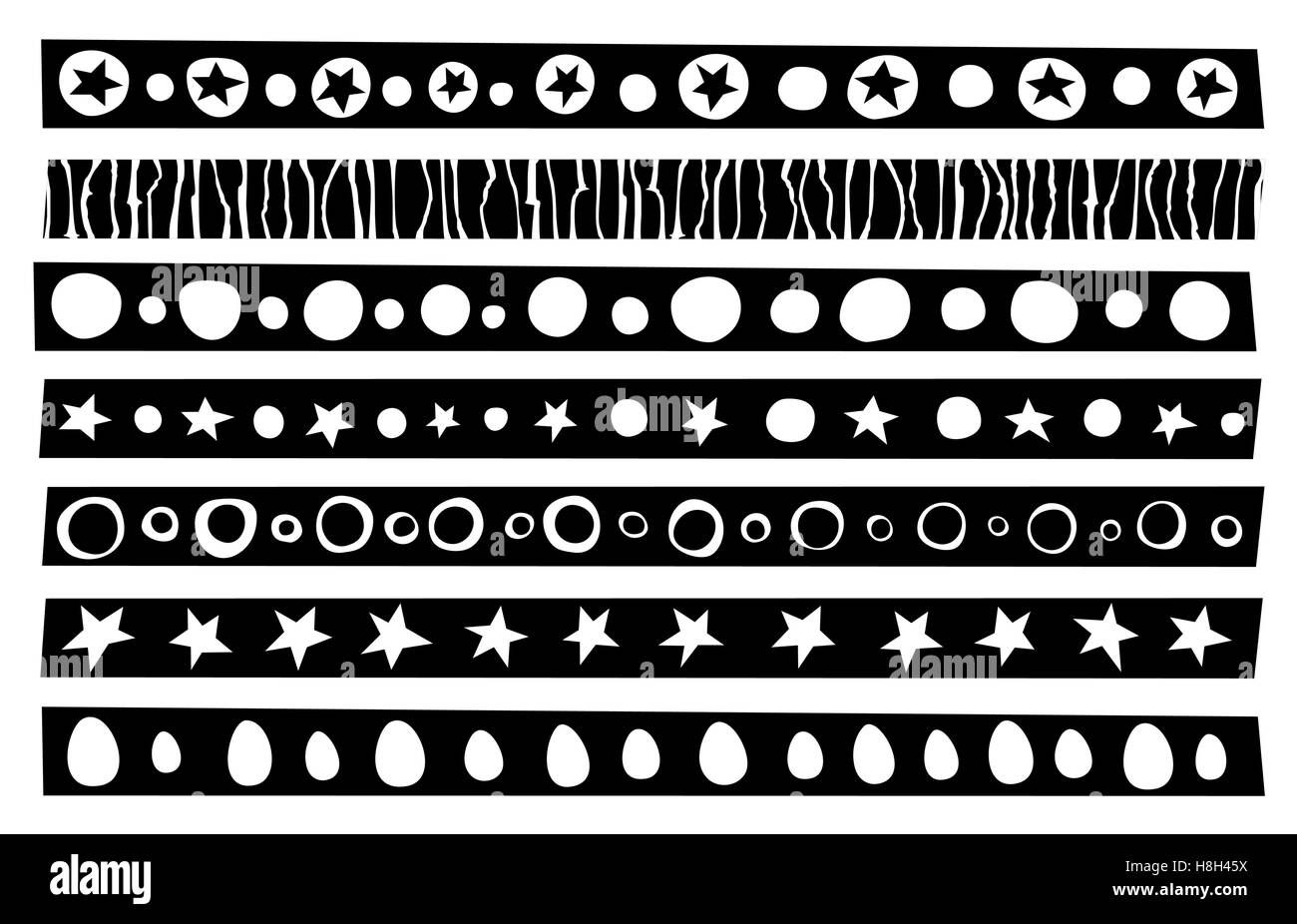 decorative border patterns collection in black over white - Stock Image