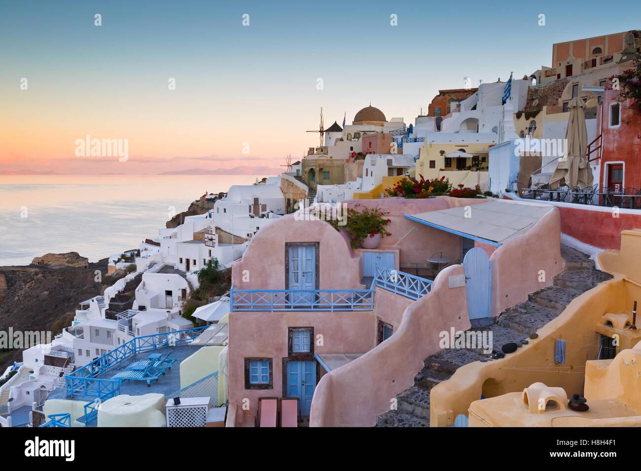 View of Oia village on Santorini island in Greece. - Stock Image