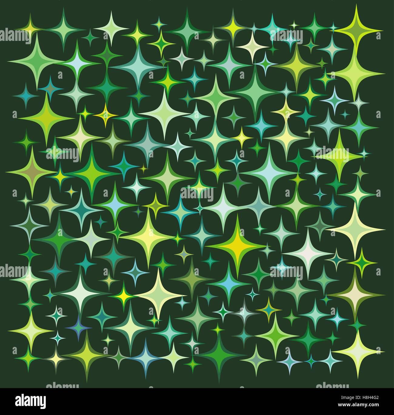 green yellow star collection over a deep green backdrop - Stock Vector