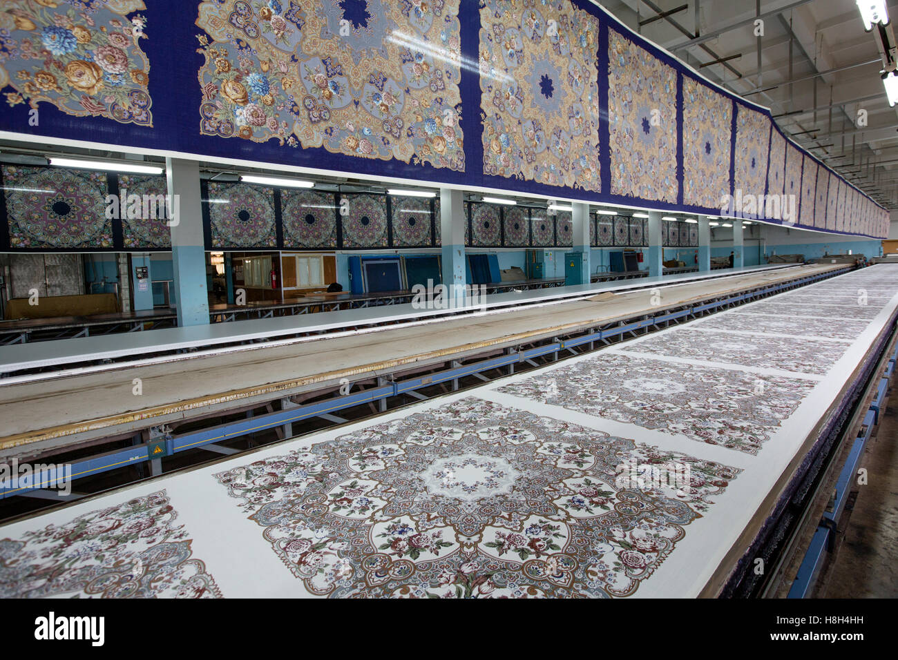Traditional Russian shawl printing in the textile mill in Pavlovsky Posad in Moscow region, Russia - Stock Image