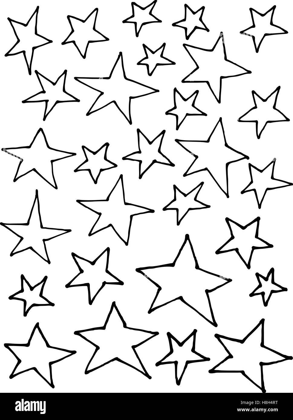 liquid line irregular stars hand drawn over white - Stock Vector