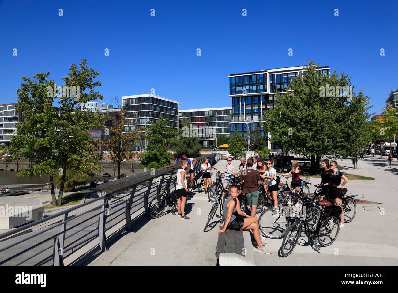 Guided bike tour, Marco Polo Terraces, Hafencity, Hamburg, Germany, Europe - Stock Image