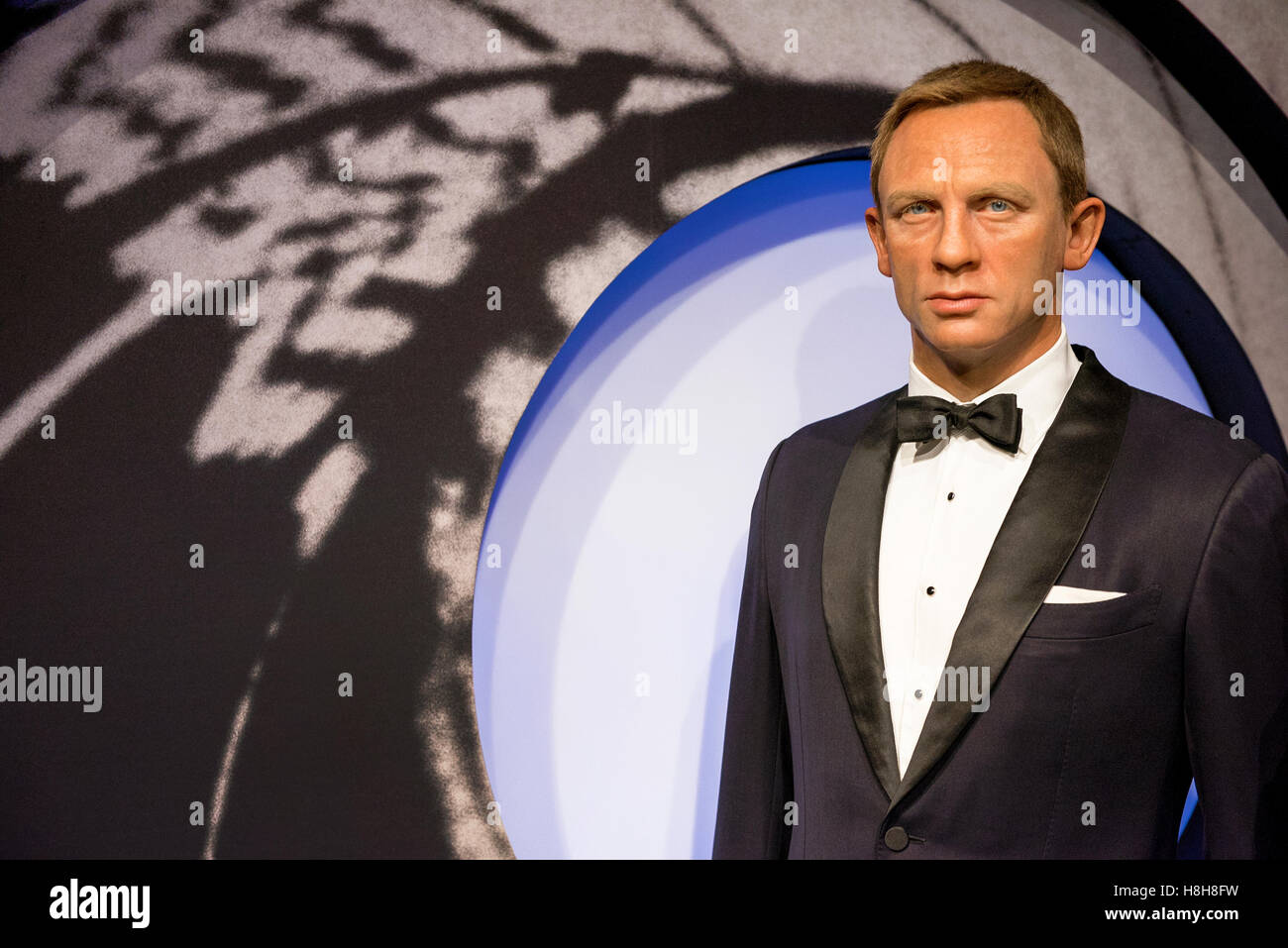 London, the UK-May 2016: Daniel Craig wax figure in Madame Tussaud's museum - Stock Image