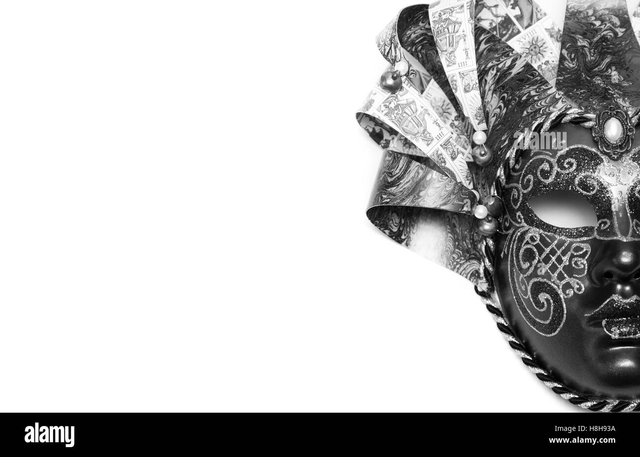 Venetian carnival mask isolated on white background - Stock Image
