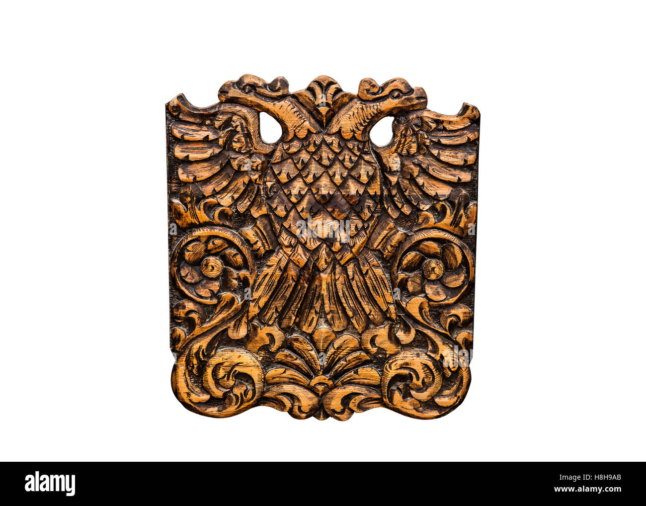 Double Headed Eagle, common symbol in heraldry and vexillology. It is most commonly associated with Byzantine Empire, - Stock Image