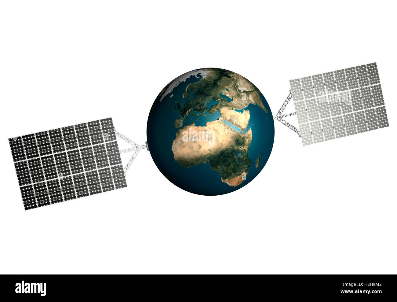 Planet Earth with solar panels attached to it, solar power, environmental technologies and sustainable power sources - Stock Image