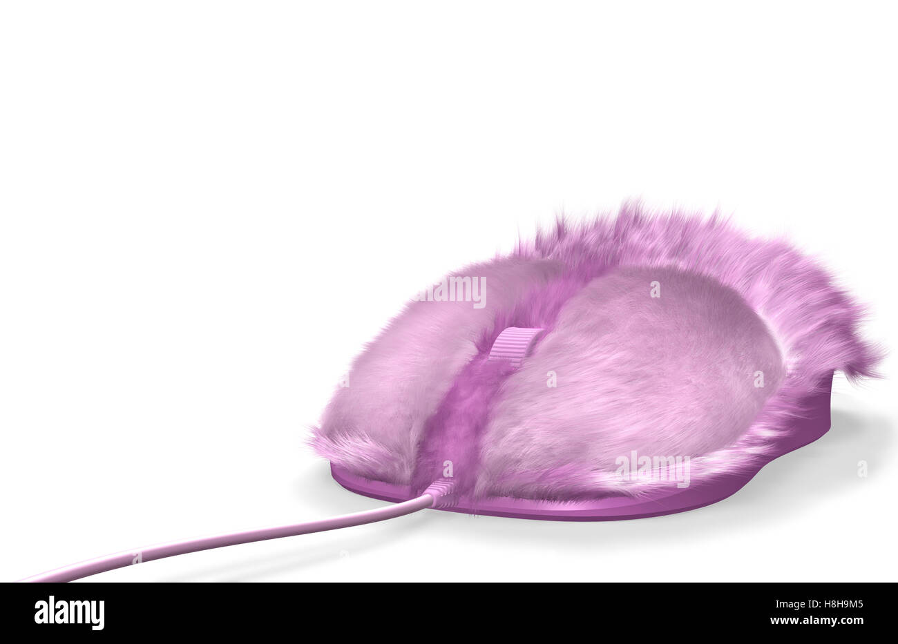 Pink furry computer mouse - Stock Image