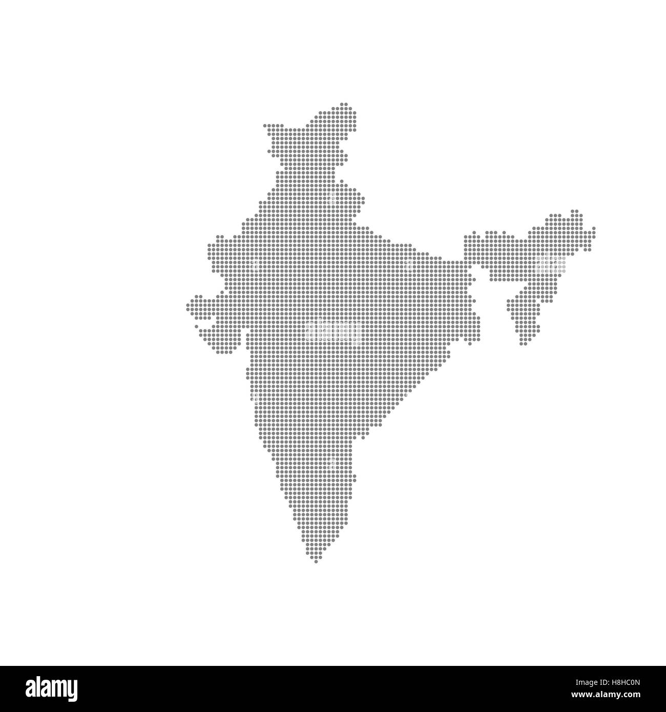 Grey Map India In The Dot . Vector illustration - Stock Vector