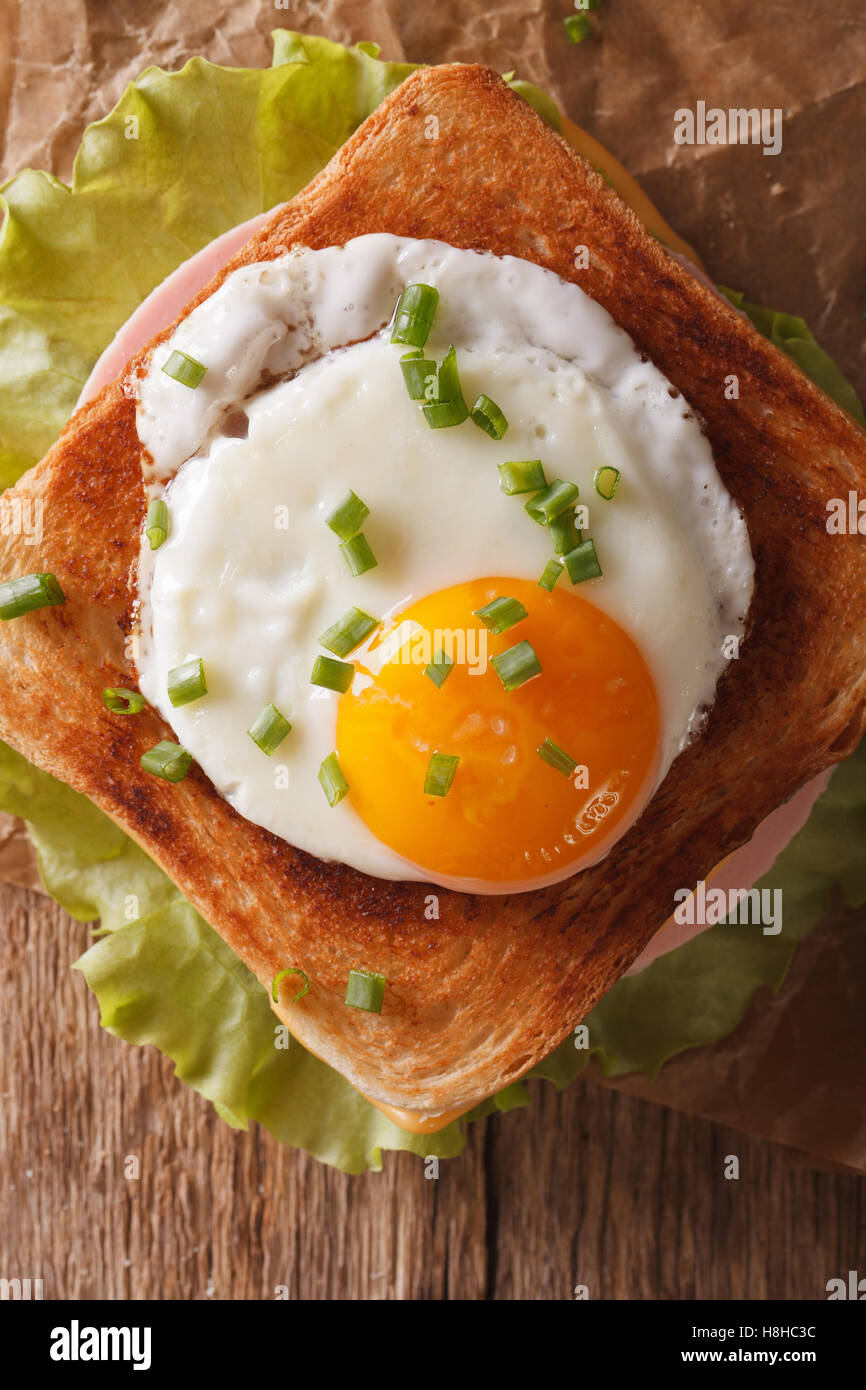 Sandwich with fried egg, ham and cheese close-up on a table vertical view from above - Stock Image