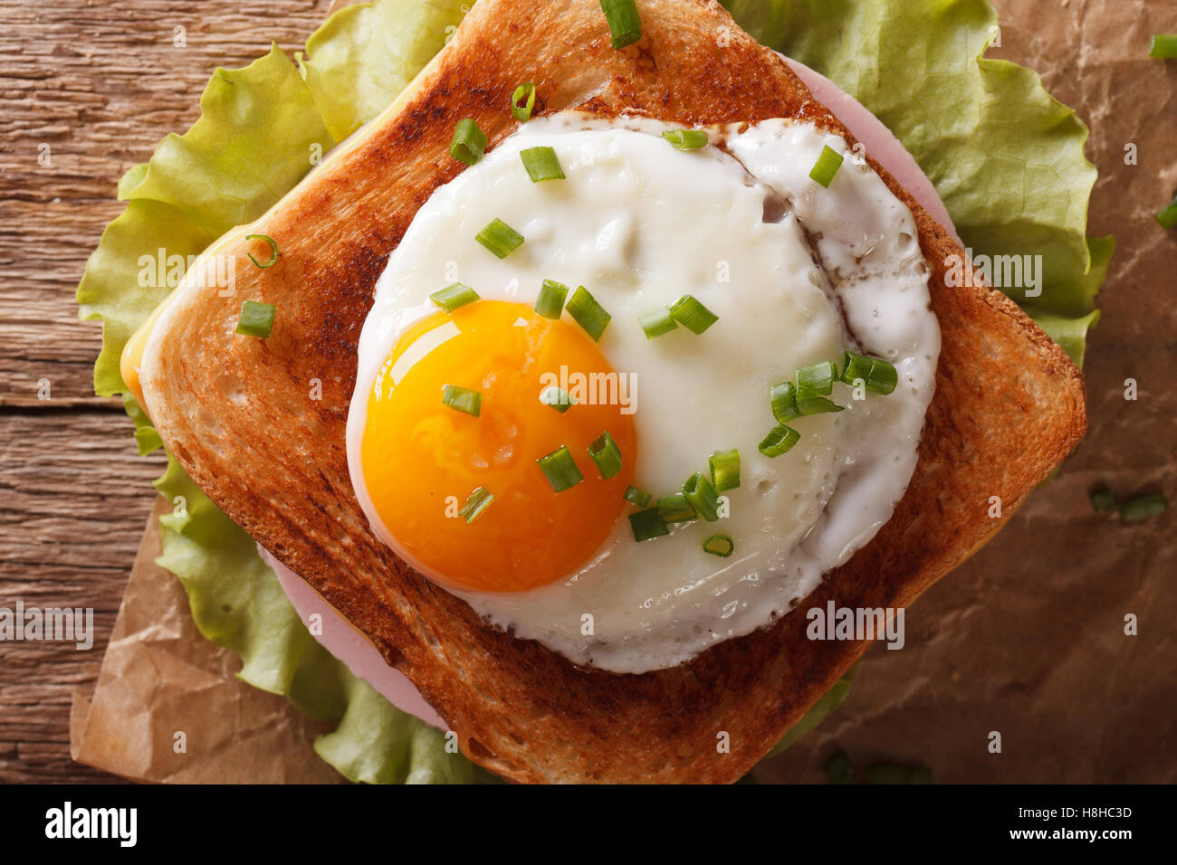 Sandwich with fried egg, ham, onions and cheese close up. horizontal view from above - Stock Image