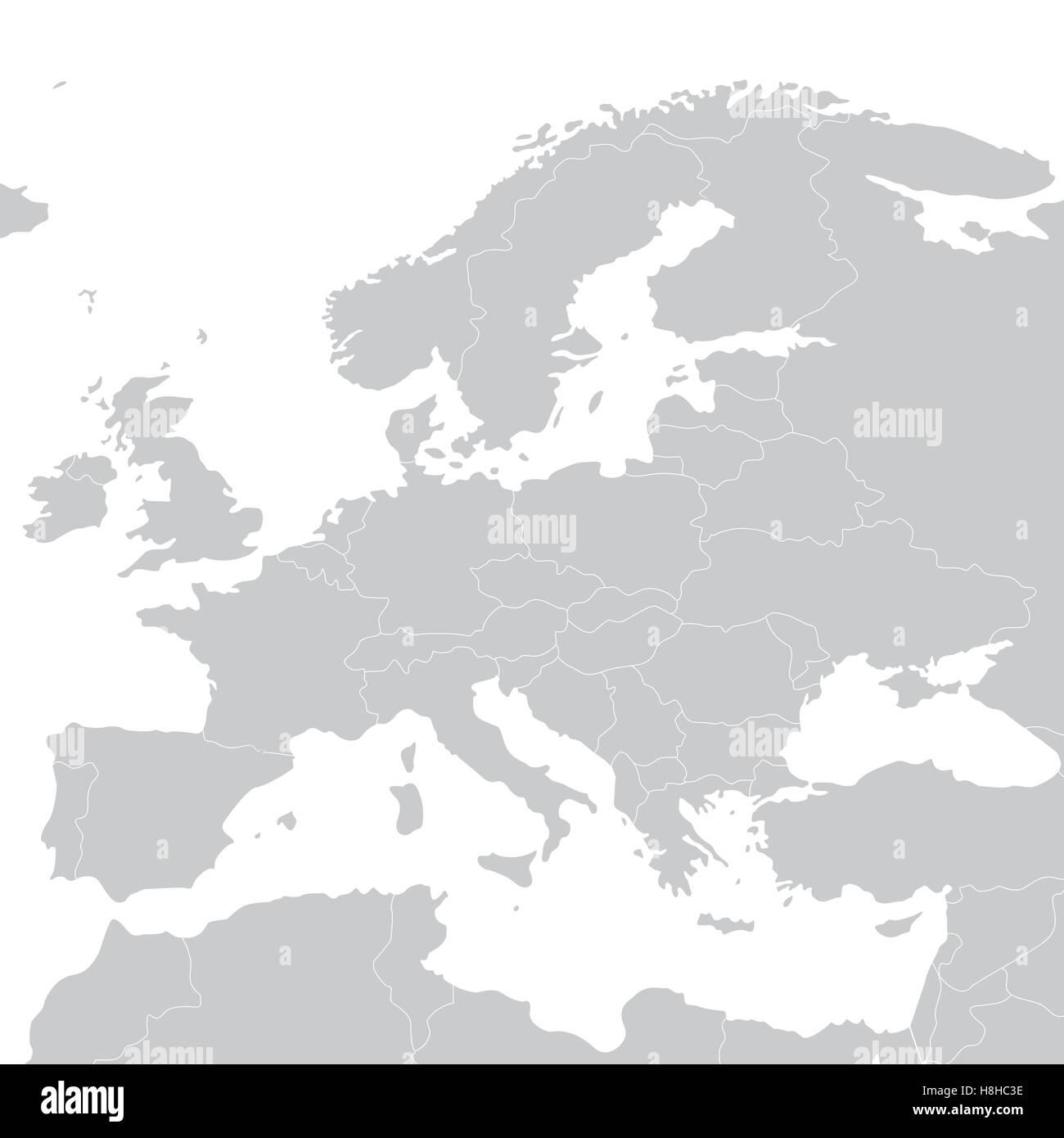Grey political map of Europe Vector illustration Stock Vector Art