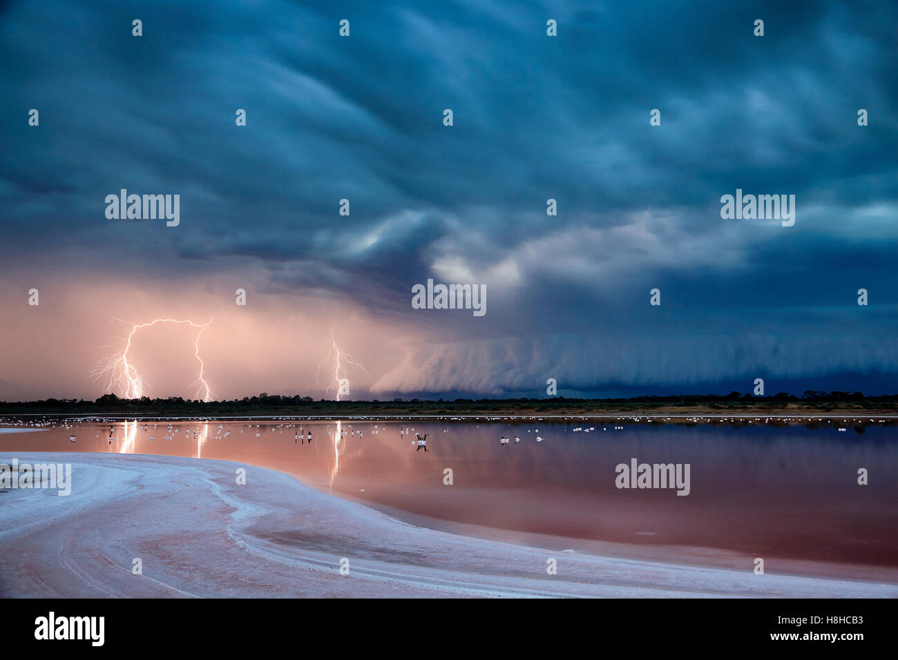 Violent electrical storm approaches Mildura, Victoria, Australia. - Stock Image