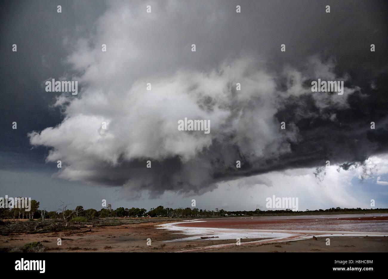 Damaging thunderstorm forming of salt lake near Mildura, Victoria, Australia - Stock Image