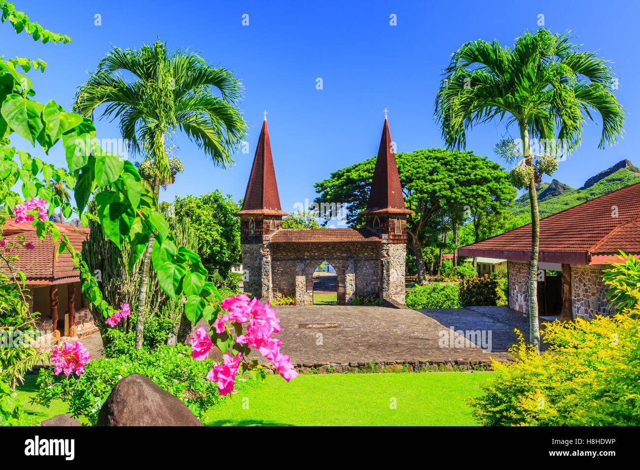 Marquesas Islands, Nuku Hiva. Notre Dame Cathedral. French Polynesia. - Stock Image