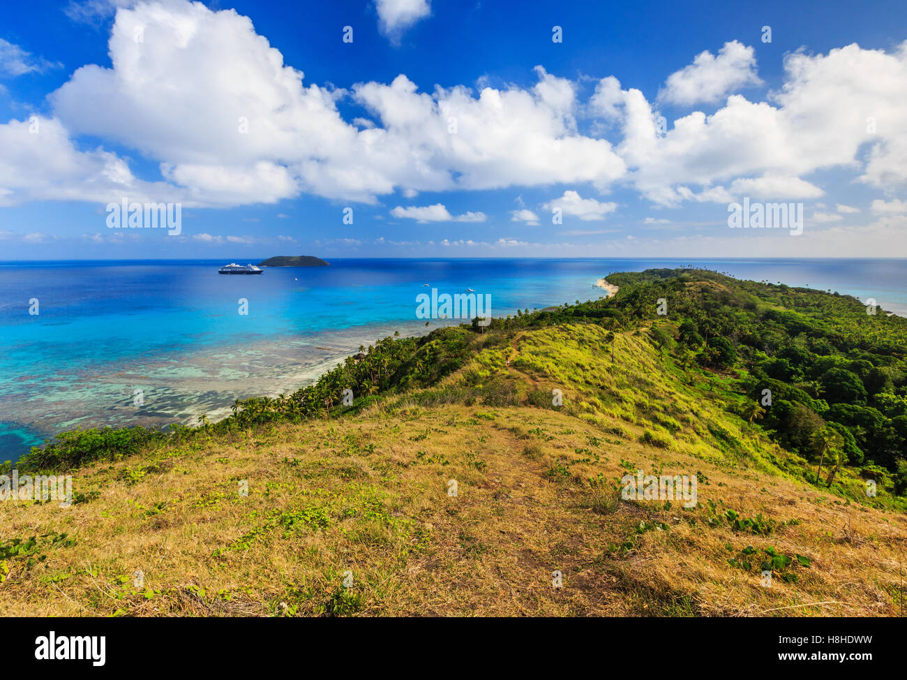 Dravuni Island, Fiji. Panoramic view of the island in the South Pacific ocean. - Stock Image