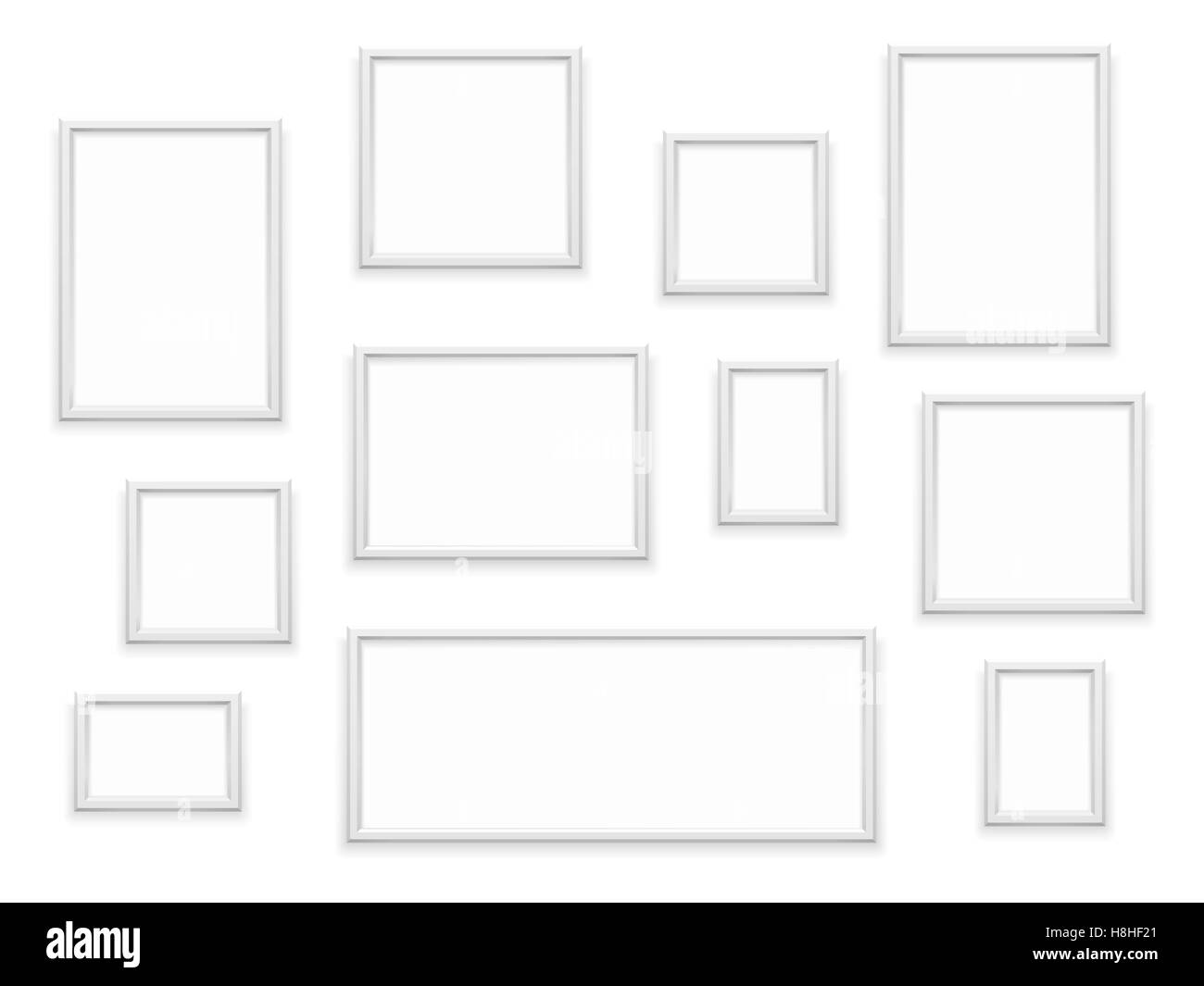 Set of white photo frames - Stock Image