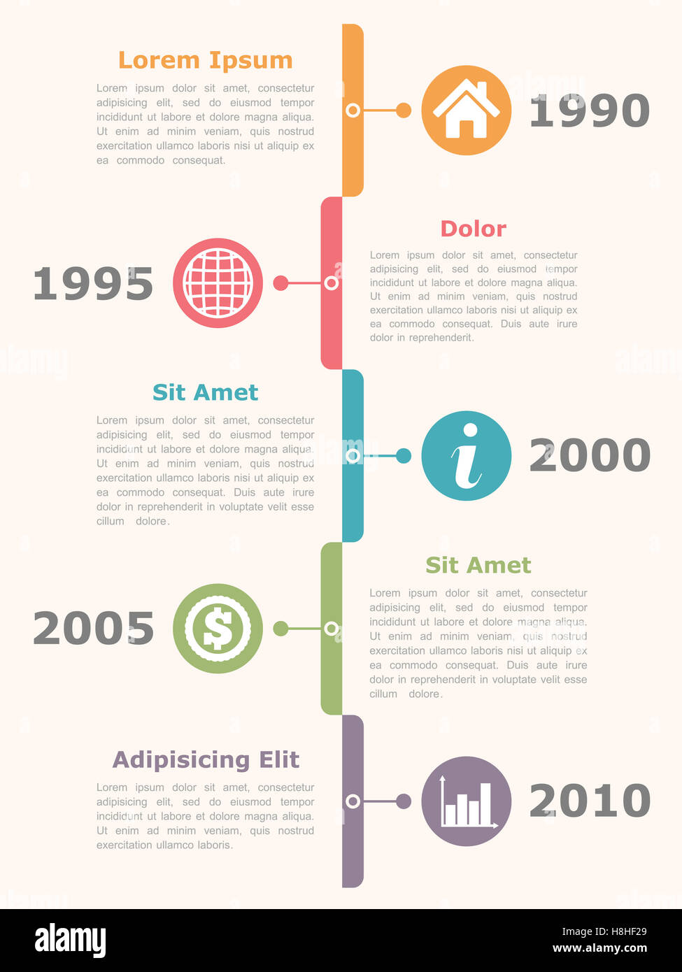 vertical timeline infographics design template with icons dates and
