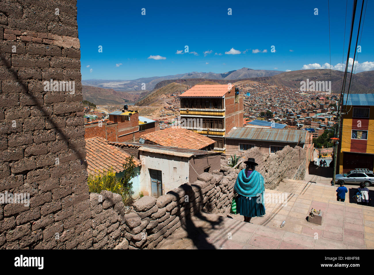 Potosi, Bolivia - November 29, 2013: Woman wearing traditional clothes in the city of Potosi in Bolivia. - Stock Image