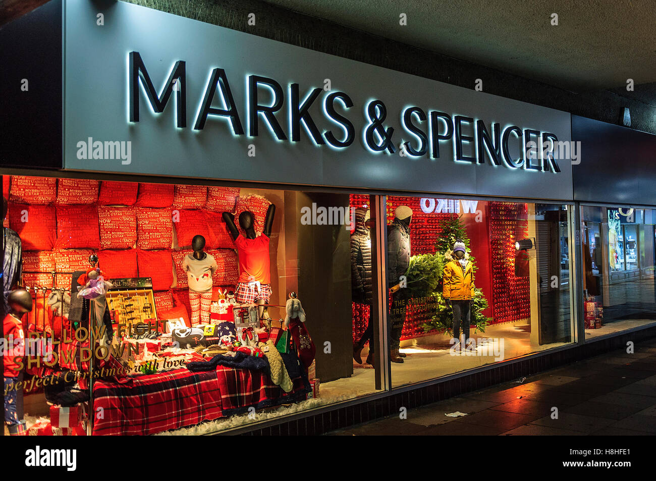 Marks and Spencer shop front in Southport, Merseyside. Stock Photo