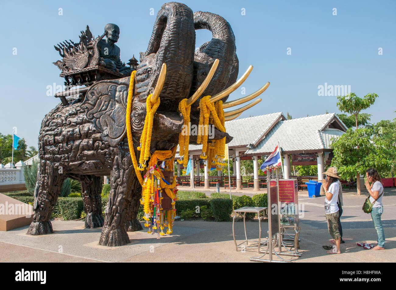 Sculpture of revered Buddhist monk Luang Pu Thuat at Wat Huay Mongkol in Hua Hin Thailand - Stock Image