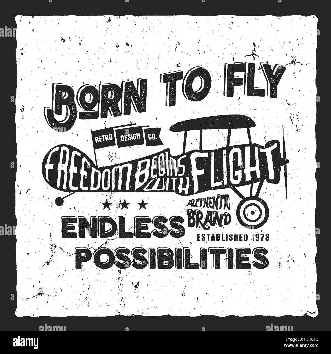 f3a87ba8 Vintage airplane lettering for printing. prints, old school aircraft  poster. Retro air show t shirt design with motivational text. Typography  print design.