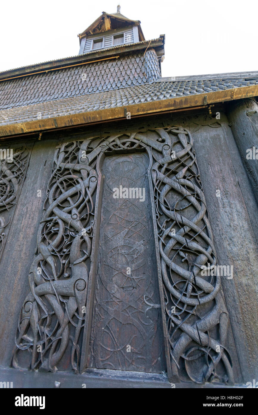 Carvings on door jambs and a wall plank of the north wall, Urnes Stave Church, Ornes, Luster, Sogn og Fjordane county, - Stock Image