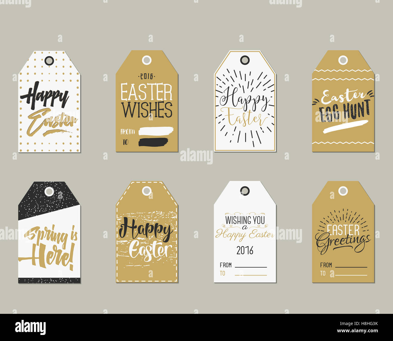set of happy easter gift tags with ink lettering signs overlay