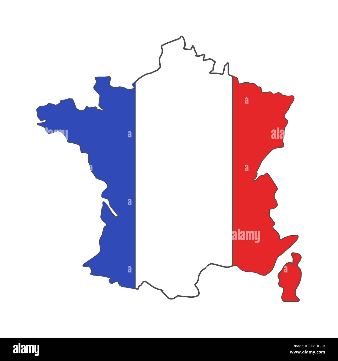 France euro championship 2016 flag design. Football background. Isolated France map wih official colors. France - Stock Image