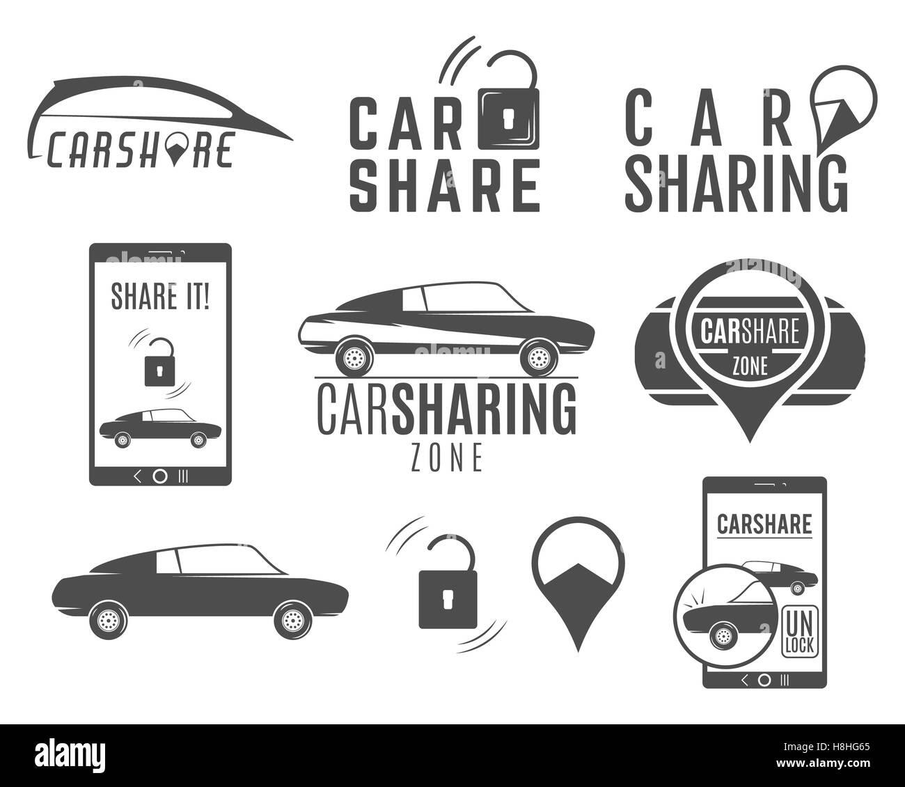 Car share logo designs set. Car Sharing concepts. Collective usage of cars via web application. Carsharing icons, - Stock Image