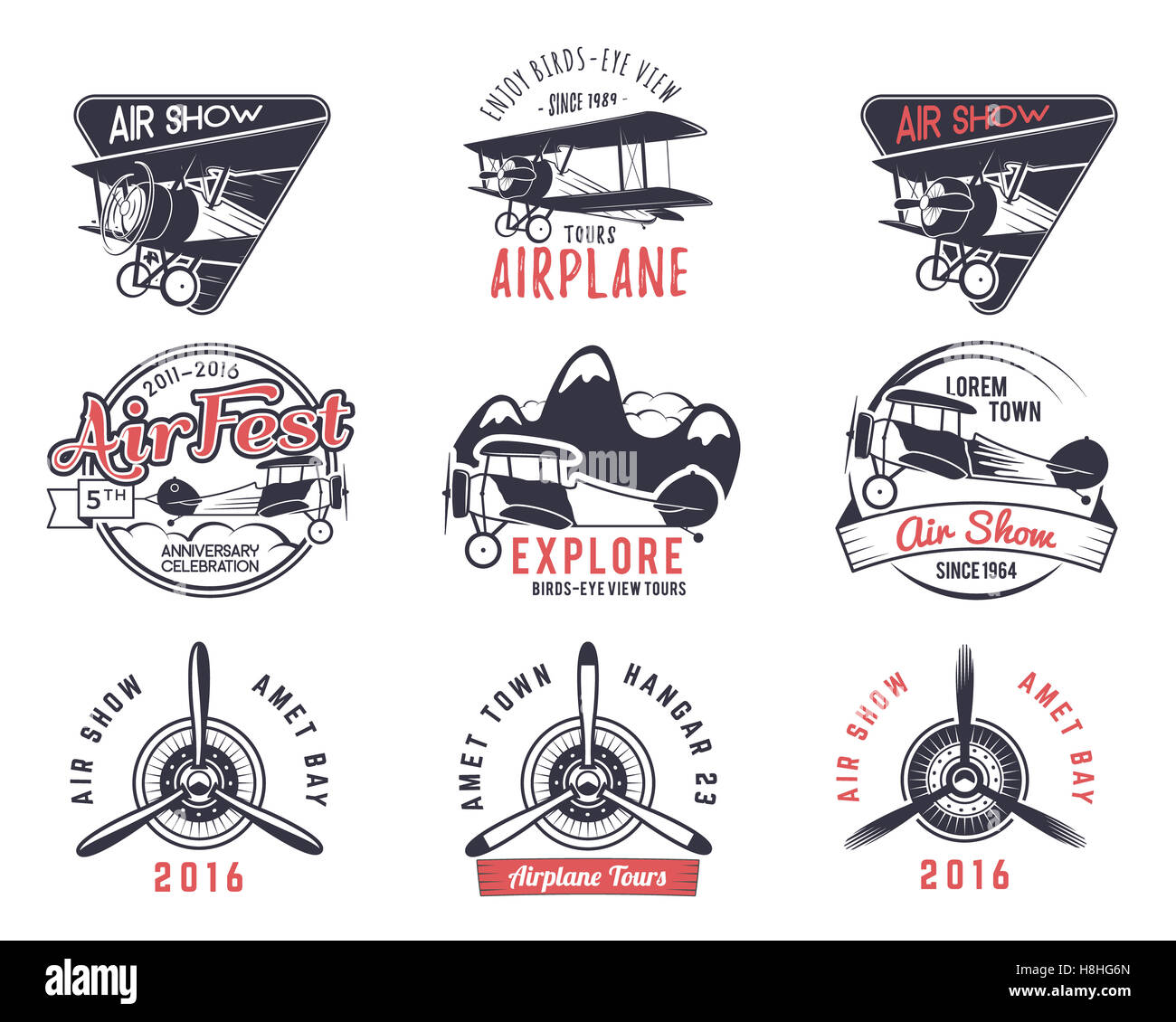 old fly stamps. Travel or business airplane tour emblems. Biplane academy labels. Retro aerial badges isolated. - Stock Image