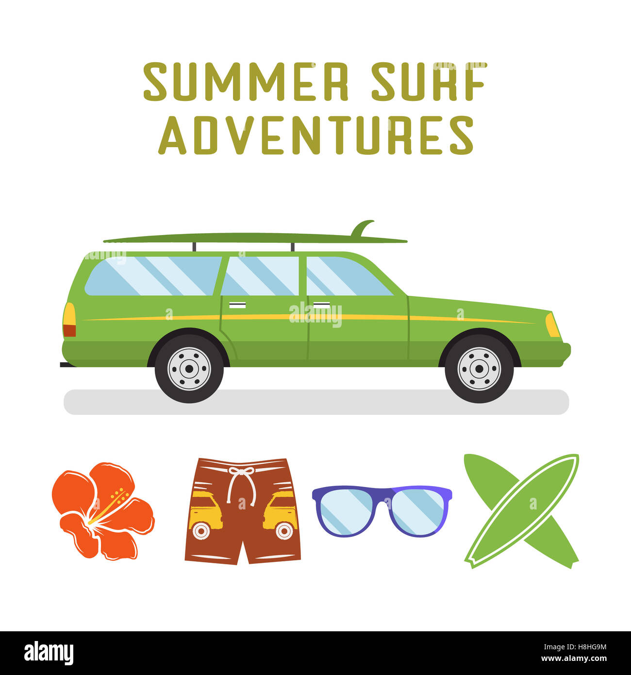 retro flat surf car design and elements - surfboards