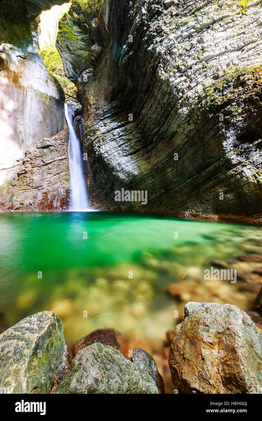 Beautiful Kozjak waterfall, Triglav national park, Slovenia - Stock Image