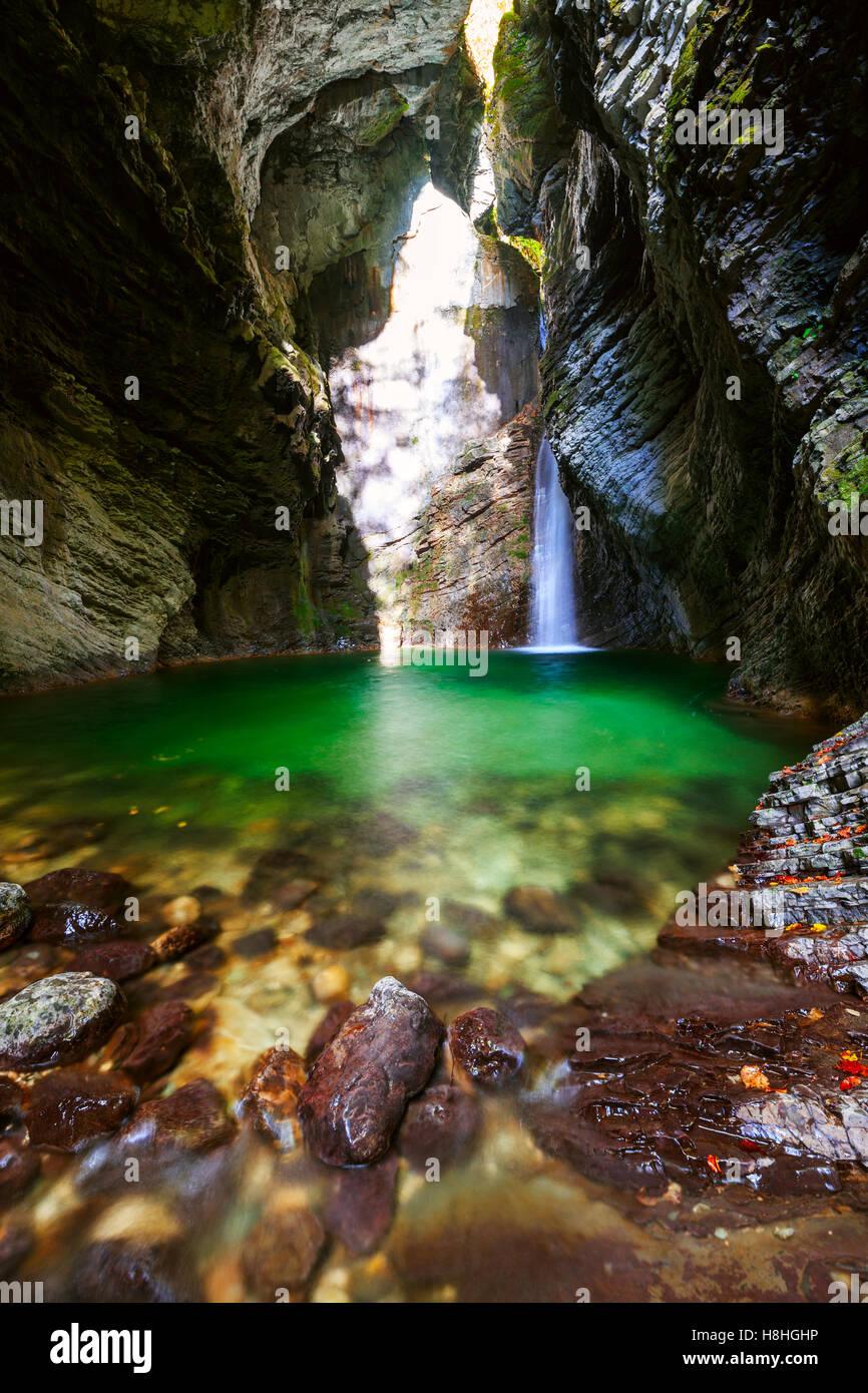 Beautiful Kozjak waterfall, Triglav national park, Slovenia - Stock Image