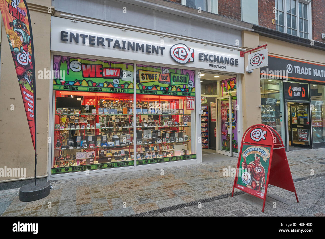 Entertainment Exchange,  second hand electronics shop, - Stock Image