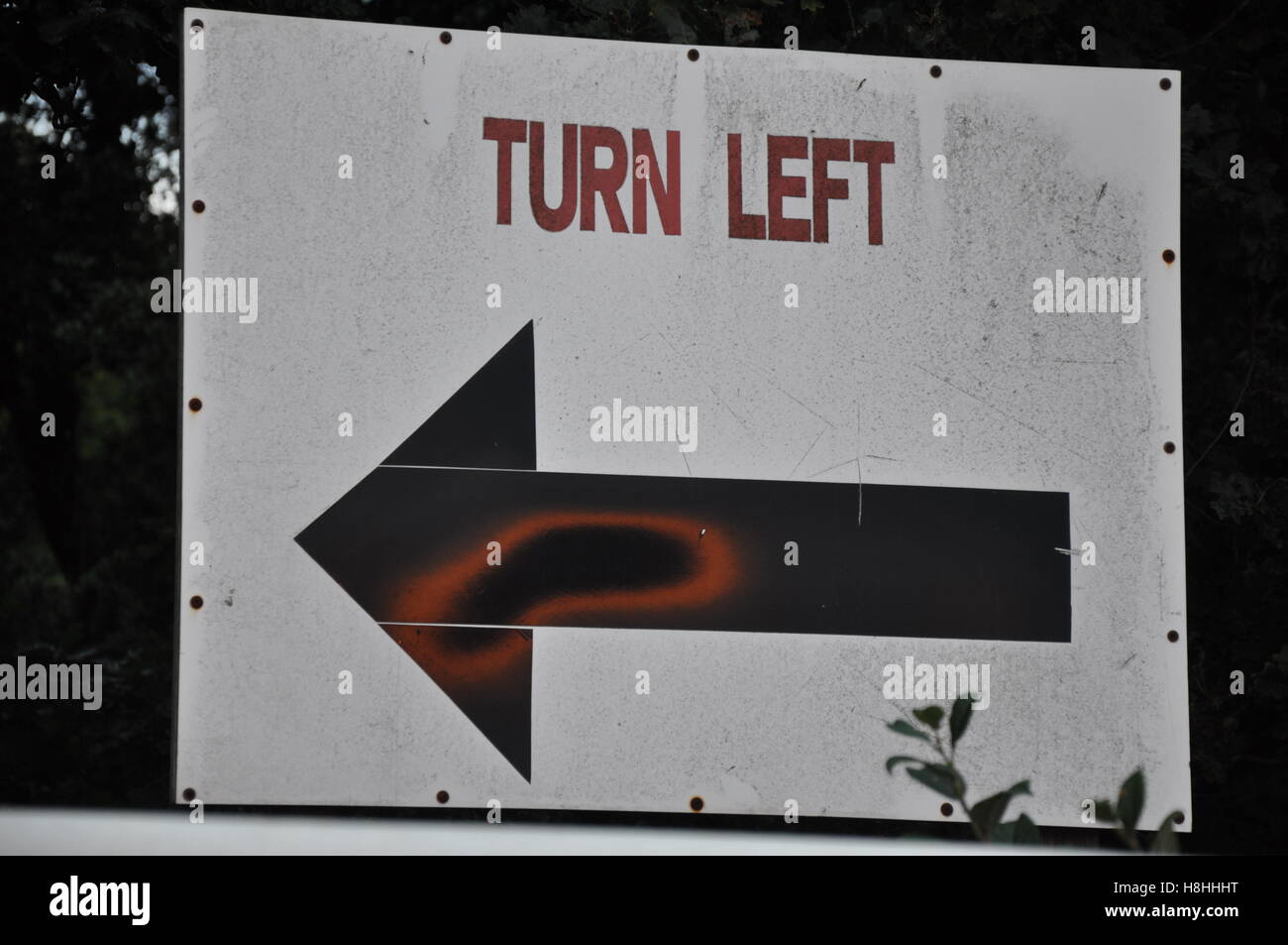 Turn left sign Stock Photo