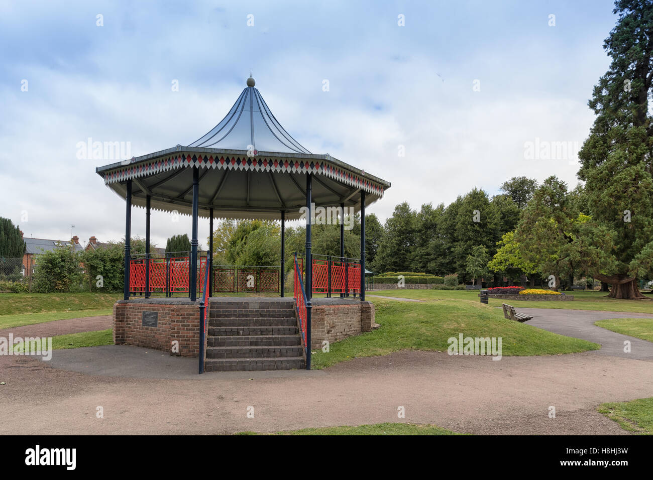 A view of the bandstand in the public gardens at Alton town park in Hampshire. Stock Photo
