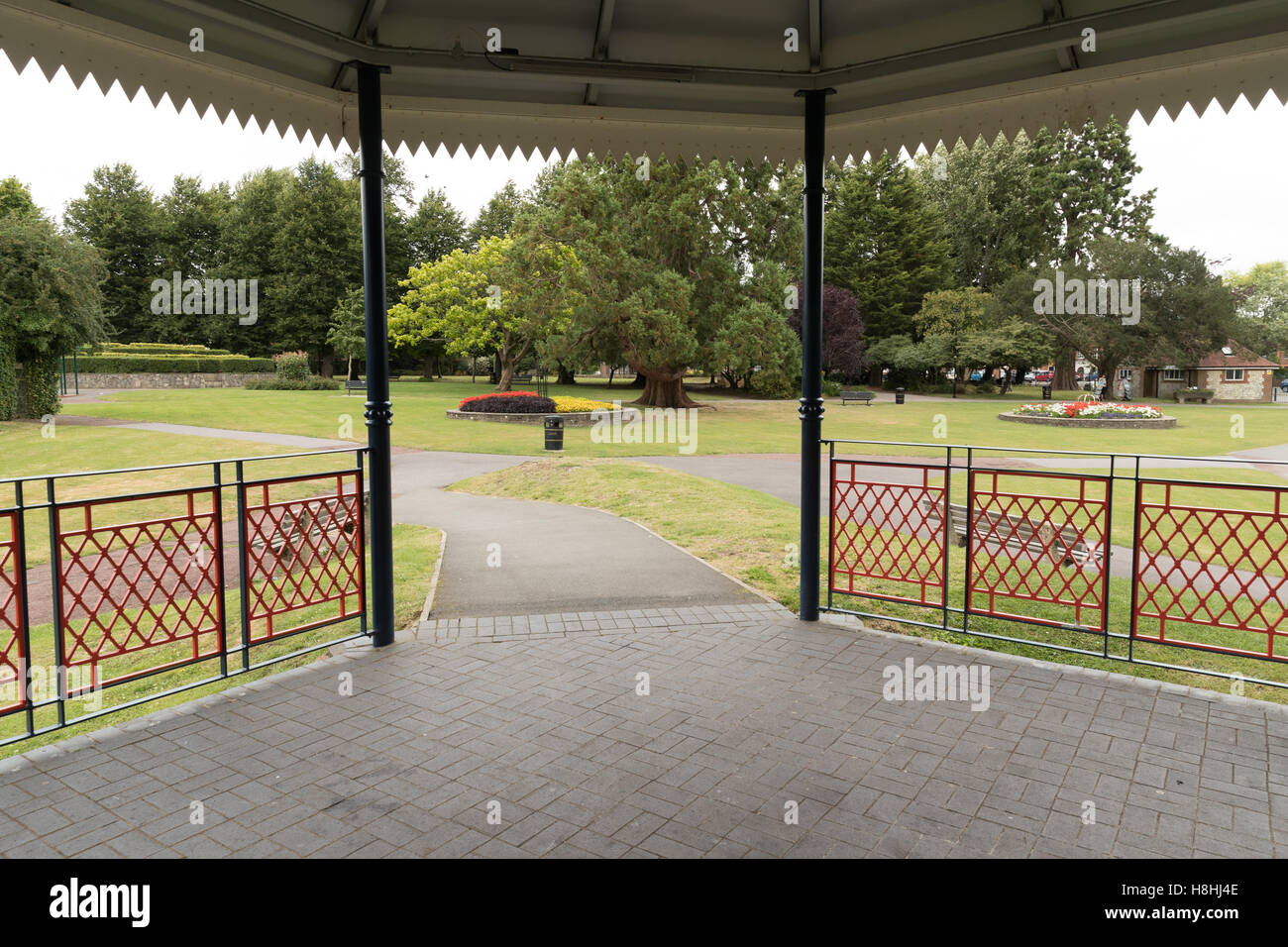 A view from inside the bandstand in Alton town park in Hampshire. Stock Photo
