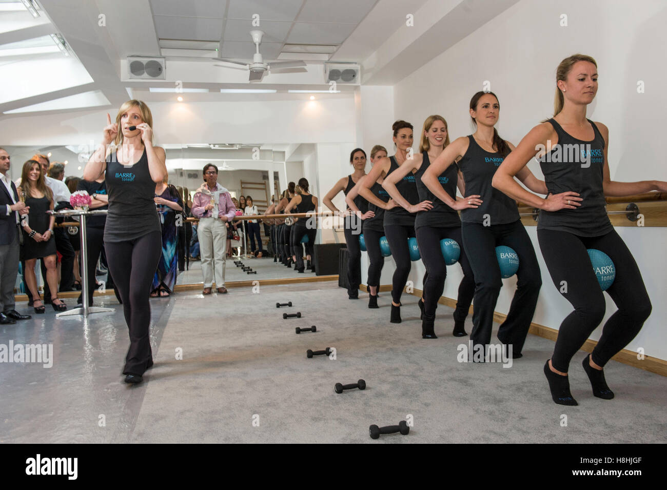 The launch of BARREtoned centre in Notting Hill part owned by TV actor Sarah Parish. Sarah first experienced the - Stock Image