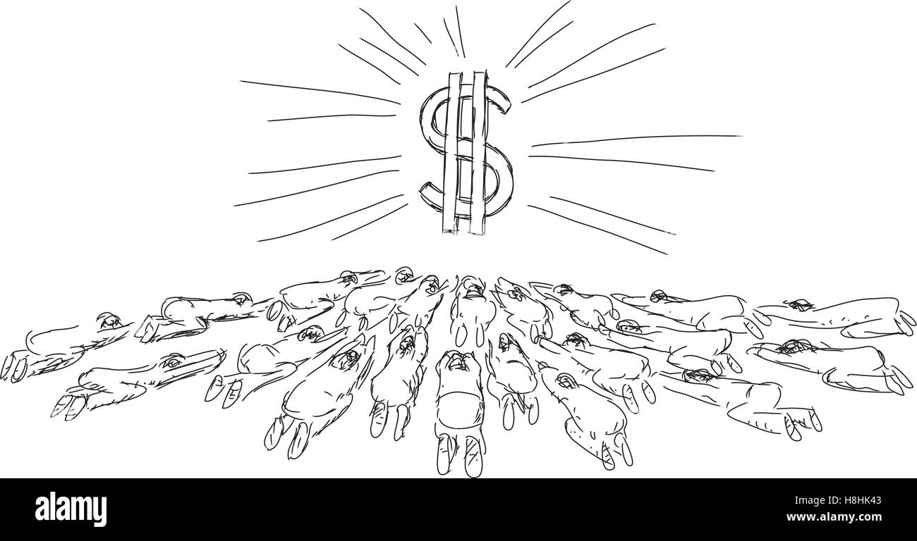 drawing persons bow to money - Stock Image