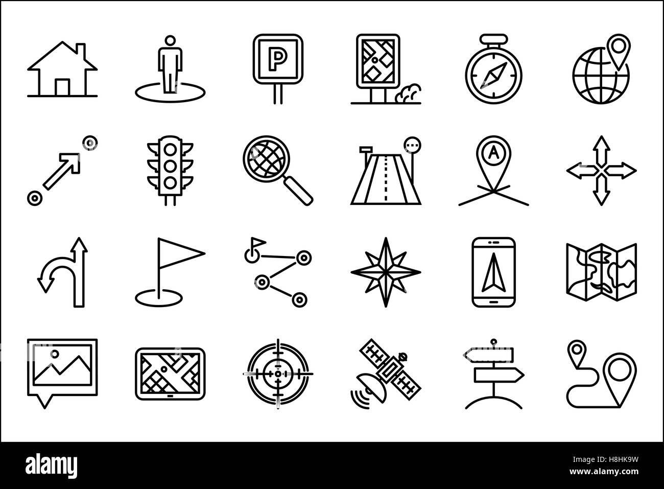 Navigation Thin Line Related Icons Set on White Background. Simple Mono Linear Pictogram Pack Stroke Vector Logo - Stock Image