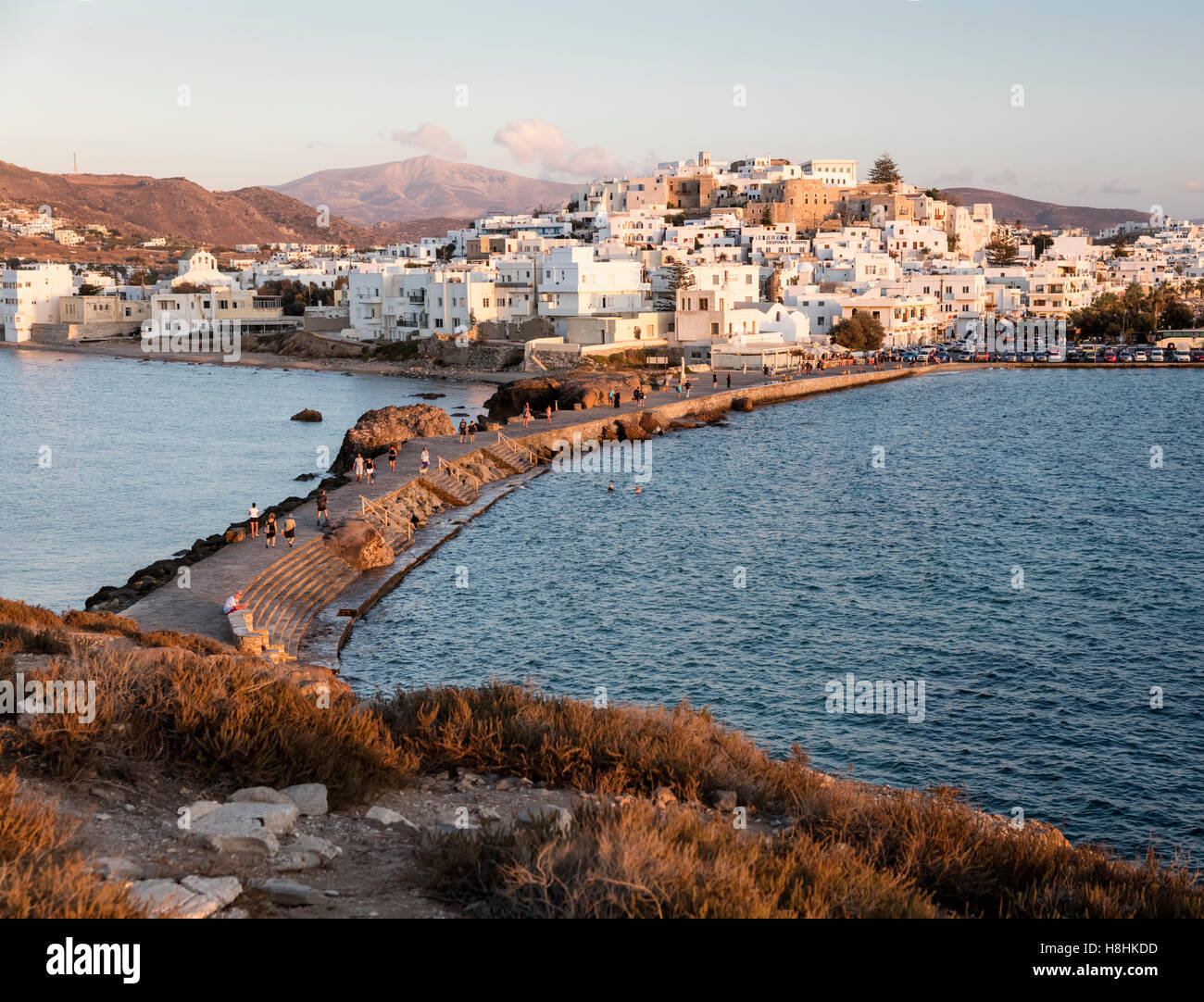 View of Naxos town from the Temple of Apollo at sunset. Naxos island in the Greek Cyclades Islands - Stock Image