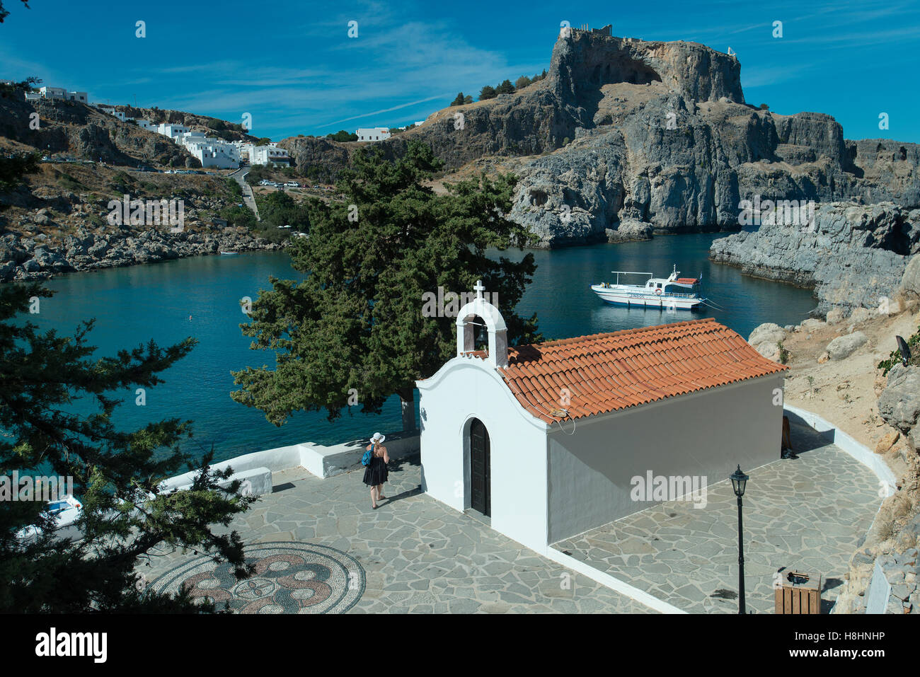 Chapel, St Pauls Bay, Lindos, Rhodes, Greece Stock Photo