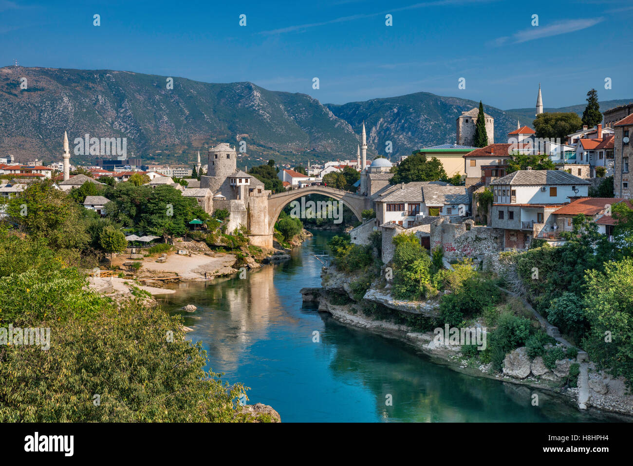 Old Town over Neretva in Mostar, Bosnia and Herzegovina - Stock Image