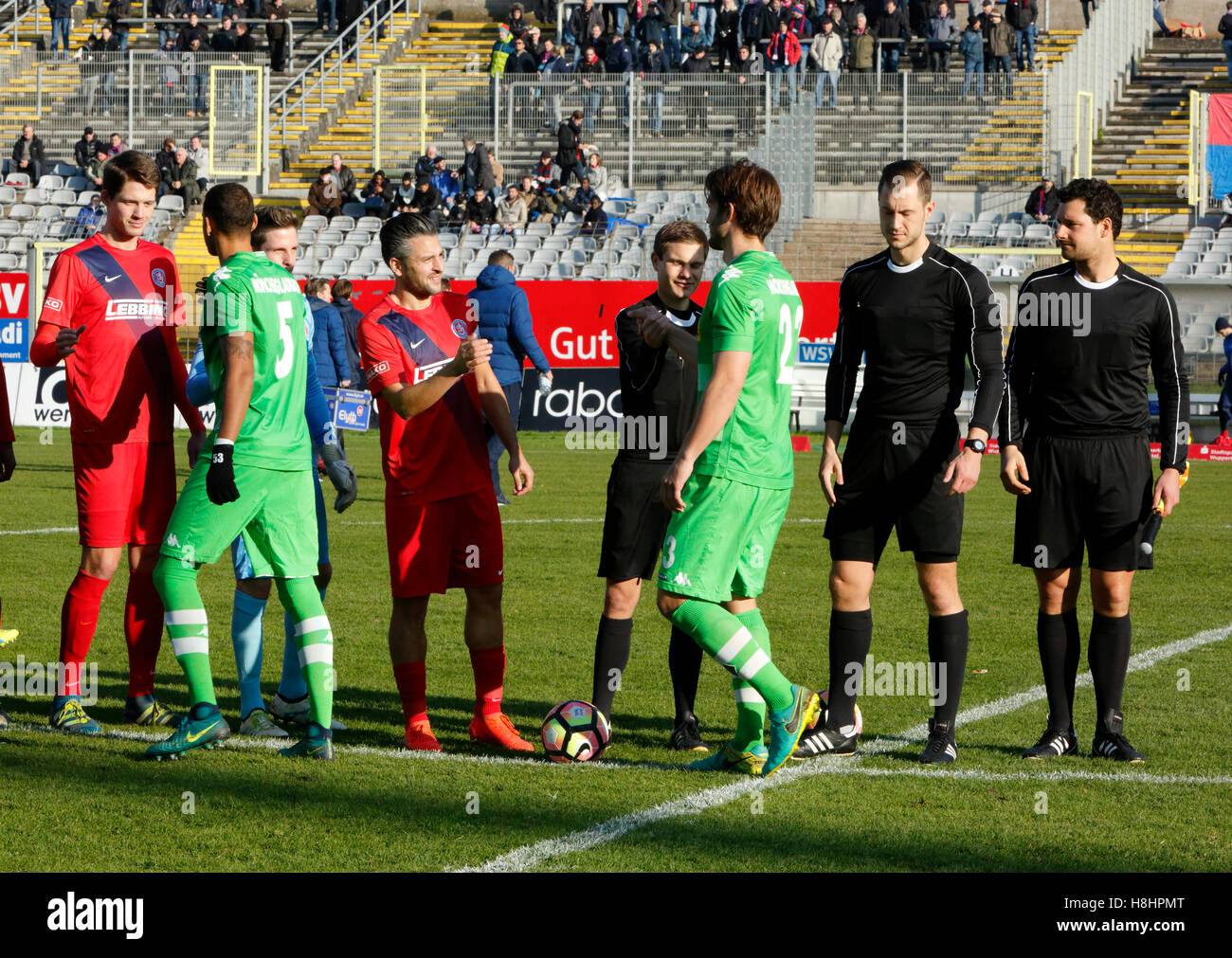 sports, football, Regional League West, 2016/2017, Wuppertaler SV vs Borussia Moenchengladbach U23 0:0, Stadium - Stock Image