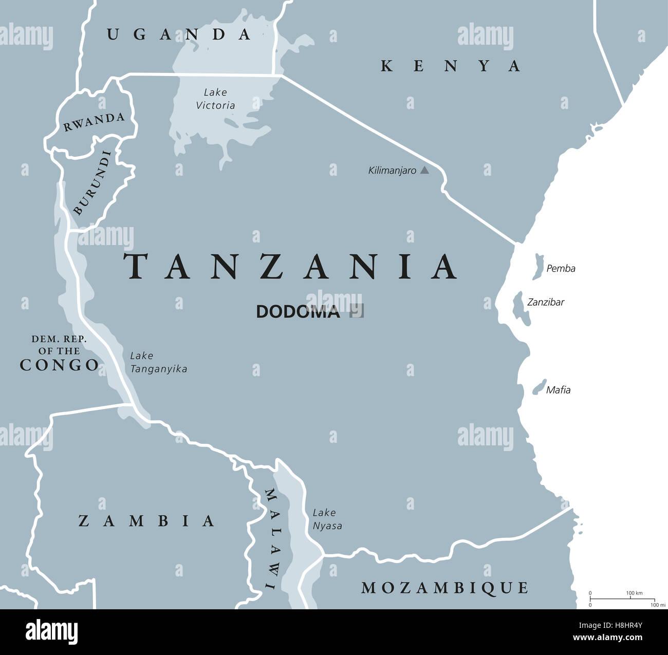 Tanzania political map with capital Dodoma, national borders, islands Zanzibar, Pemba and neighbor countries. Stock Photo