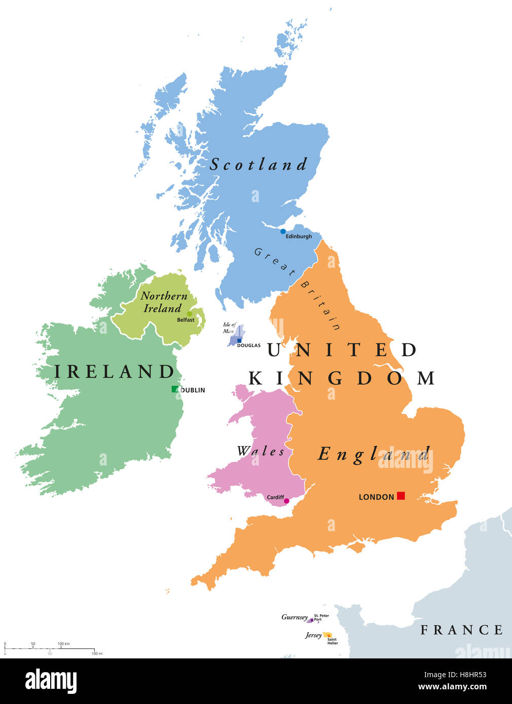 England And Scotland Map United Kingdom countries and Ireland political map. England Stock