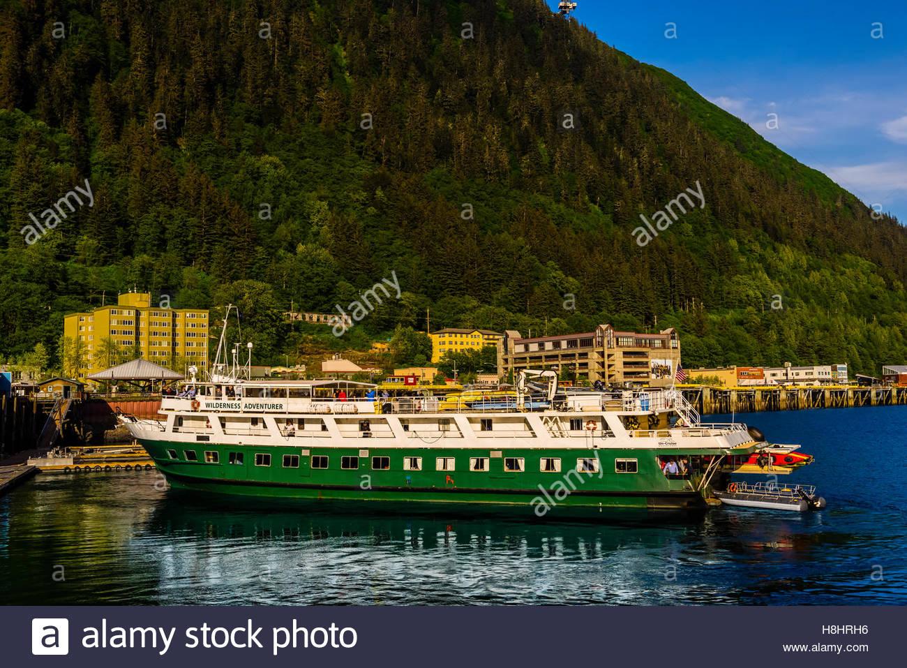 Un-Cruise 'Wilderness Adventurer' docked in Juneau, Alaska USA. - Stock Image