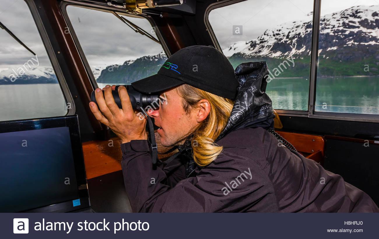 On the bridge, Wilderness Explorer (small cruise ship), Glacier Bay National Park (a UNESCO World Heritage Site), - Stock Image