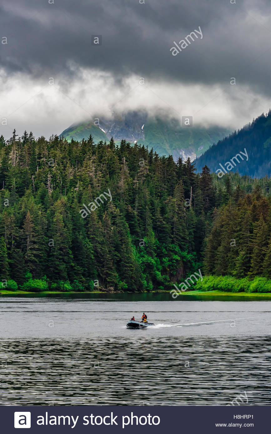 Skiff, Freshwater Bay, Chichagof Island, Inside Passage, Southeast Alaska USA. - Stock Image