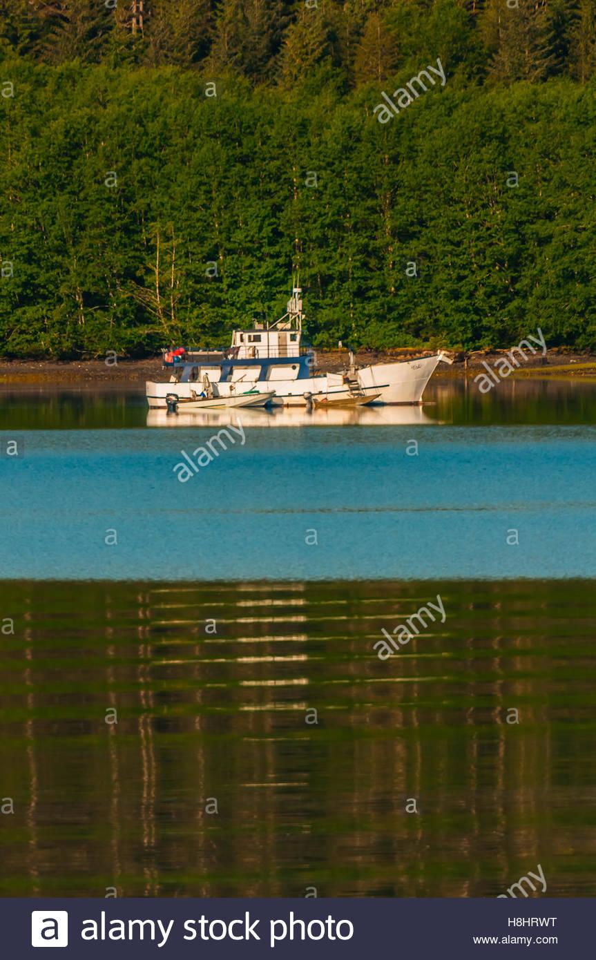 Fishing boat, Krestof Sound,  Inside Passage, Southeast Alaska USA. - Stock Image